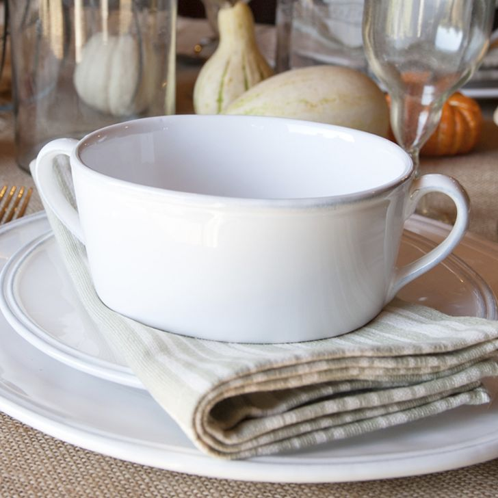 Our Nantucket Looms soup bowl is elegant, yet still practical The handles on…