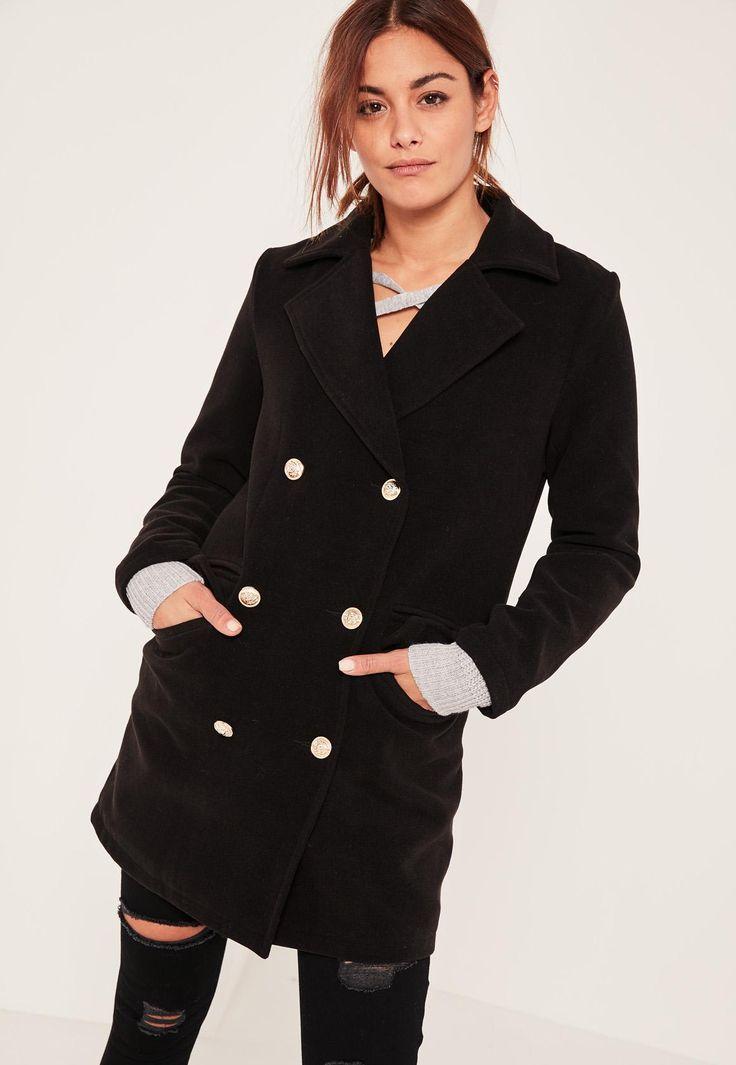 Missguided - Petite Black Short Faux Wool Military Coat