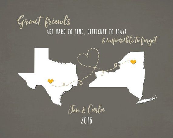 Best Friends Long Distance Map Personalized Birthday Gift Ideas