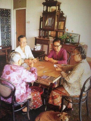 "Peranakan Nonyas playing a card game called ""Cerki just like my Grandma use to."