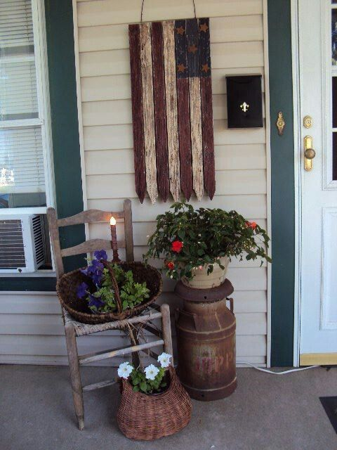Pin by luann morgan on country primitive decor pinterest for Small front porch decor