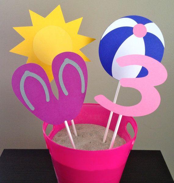 Beach Party Themed Centerpiece  Set of 8  by 2CreativeGirls
