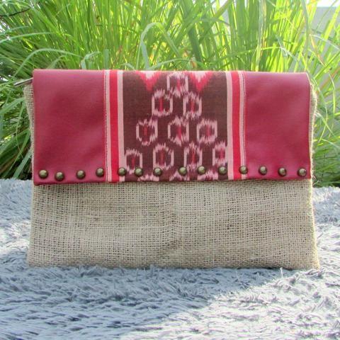 Alicia Jute Ikat Tenun Clutch - Handmade clutch bag