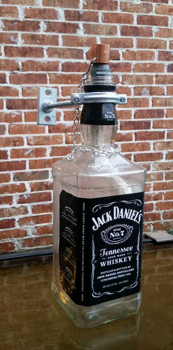 Jack Daniels tiki torch, patio decor, patio lighting, bottle decor, mens gifts, housewarming gift, fathers day, rustic lighting, industrial