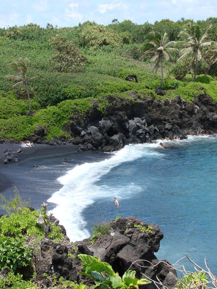 Black sand beach along Maui's Road to Hana.  This was so cool but they had killer seal warnings.