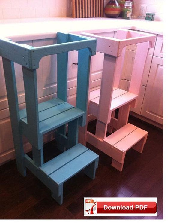 Helper Tower Plans Kids Kitchen Step Stool Pdf Plan Toodler