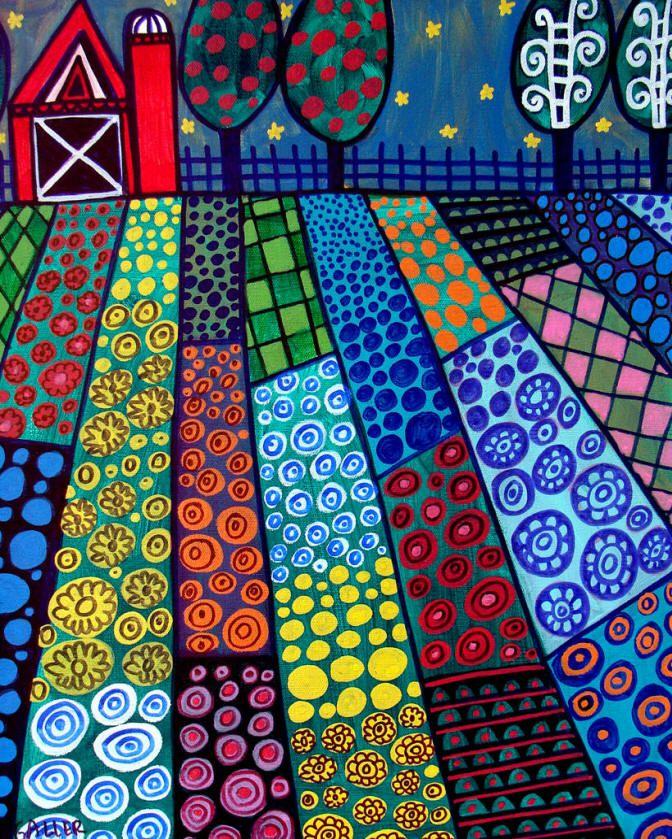 Primitive Folk Art | Red Barn Landscape Primitive Folk Art Painting