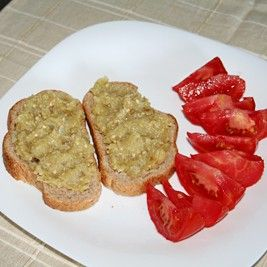#Romanian #recipe for easy eggplant salad (spread) without mayo.