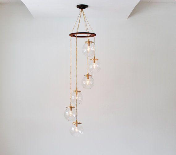Globus-Kronleuchter, Spirale hängen Kronleuchter Leuchte, 6 klar rund Glas Schattierungen, BootsNGus Beleuchtung & Hauptdekor, Leuchtmittel inbegriffen