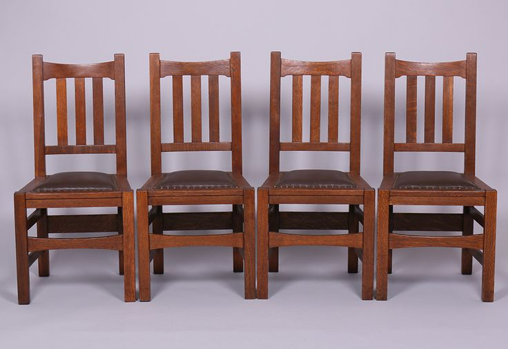 Set of 4 stickley brothers dining chairs 1 2 for Arts and crafts 5 piece dining set