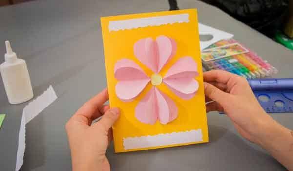Как сделать открытку бабушке на день рождения не сложно, детьми