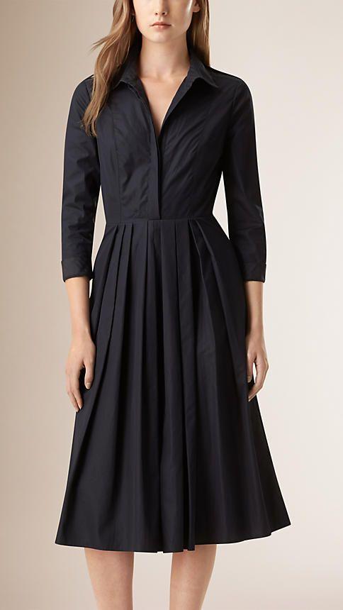 Nanquim Vestido camisa xadrez de algodão com detalhe plissado - Imagem 1