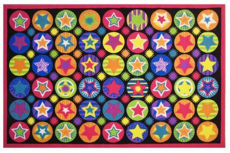 Fun Rugs Rectangle Multi-Colored Stars Nylon Kids Rug Multi-Color 3 Ft X 5 Ft