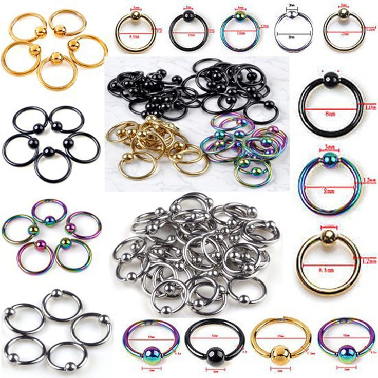 5pcs Captive Bead Ring Ball Hoop Eyebrow Nipple Nose Lip Earrings Body Piercing 10 Styles Free Shipping