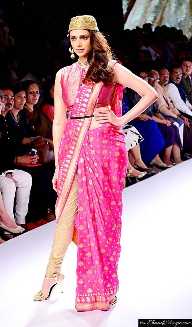 Actress Aditi Rao Hydari at Festive Lakme Fashion Week 2015 Collection.