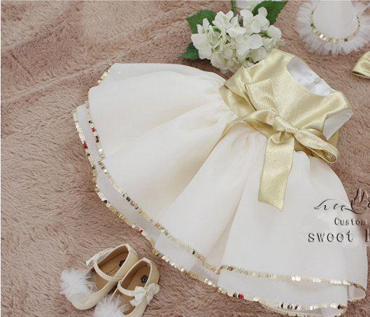 Concours de filles or robe de fille de fleur par sweetheartbabe