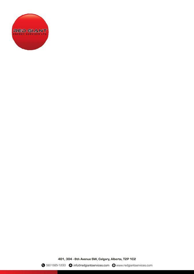 Red Giant Energy Services Ltd letterhead design