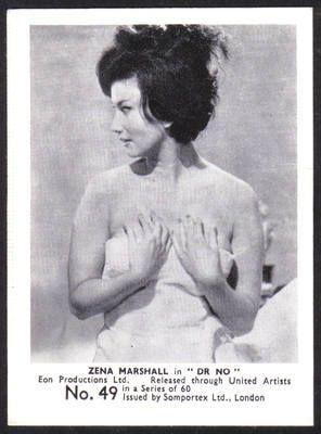 Zena Marshall: James Bond Original 1964 Somportex Trade Card. Number 49. Price £15