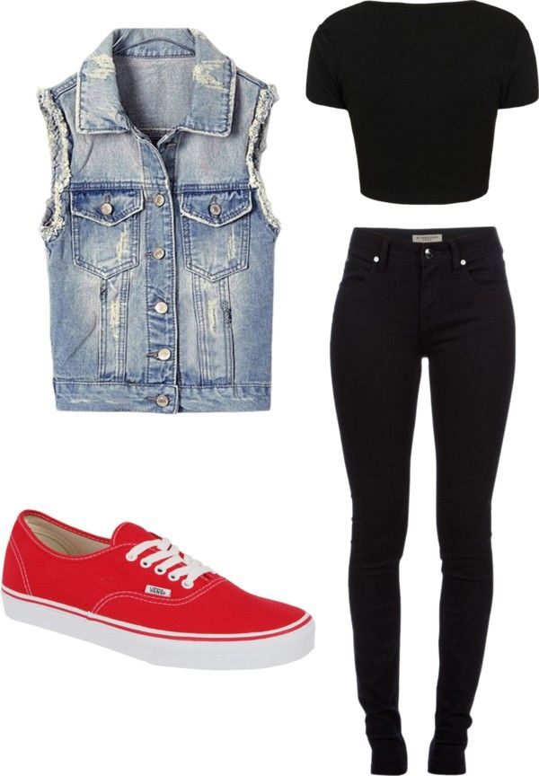 """Concert"" by blabsalot on Polyvore  I said perfect outfit for a concert before I saw the caption. Although I'd personally go for some chucks and a more distressed vest"