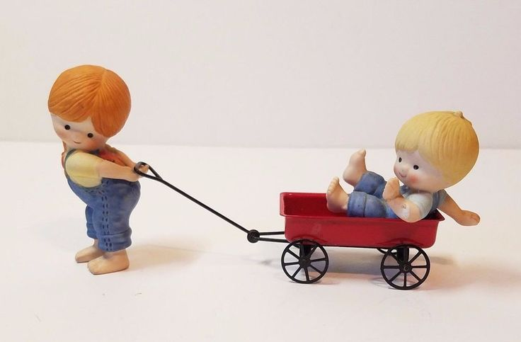 Vintage Enesco Porcelain Figurine Country Cousins Katie & Scooter Pulling Wagon