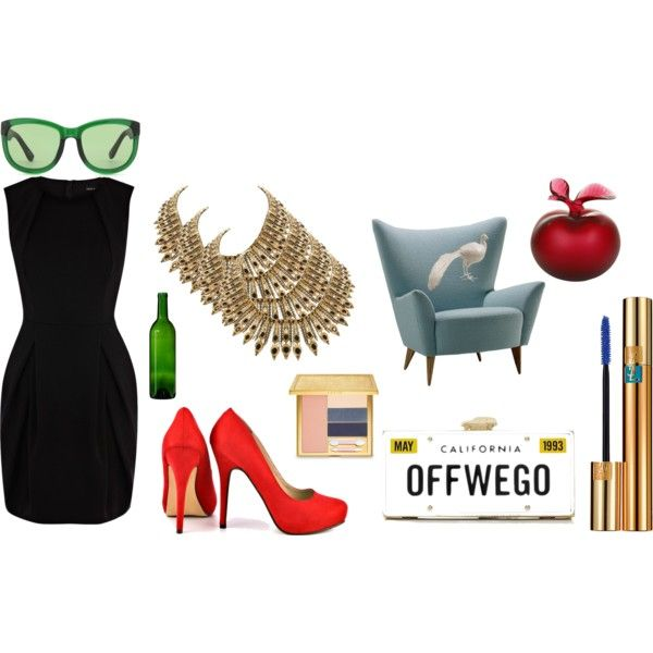 Off we go by kikajit on Polyvore featuring Karen Millen, Michael Antonio, House of Harlow 1960, The Row, Yves Saint Laurent, AERIN, Lalique, Stray Dog Designs and Kate Spade