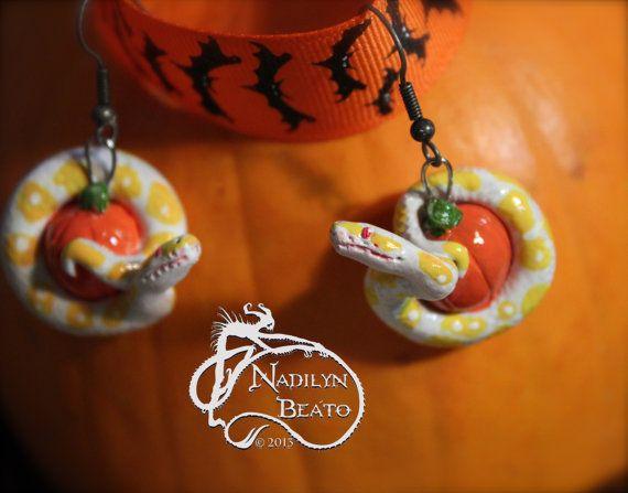 Albino Ball Python Pumpkin Halloween Earrings