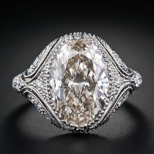 Vintage Style 4.44 Carat Oval Diamond Engagement Ring
