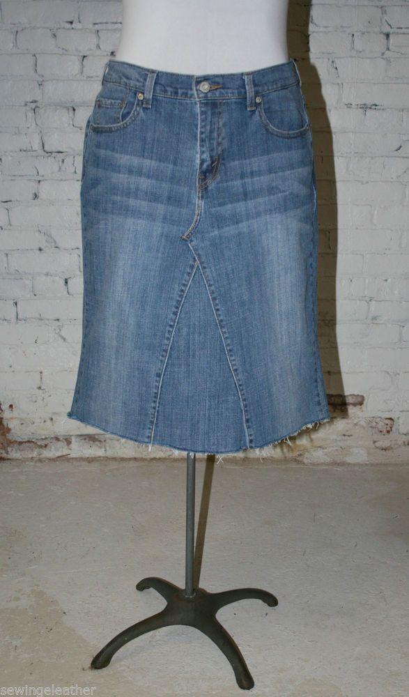 Custom **Long  Knee-Length Skirt** Recycled, Converted  Jeans Sizes**  0-24 !!! #Handmade #ALine