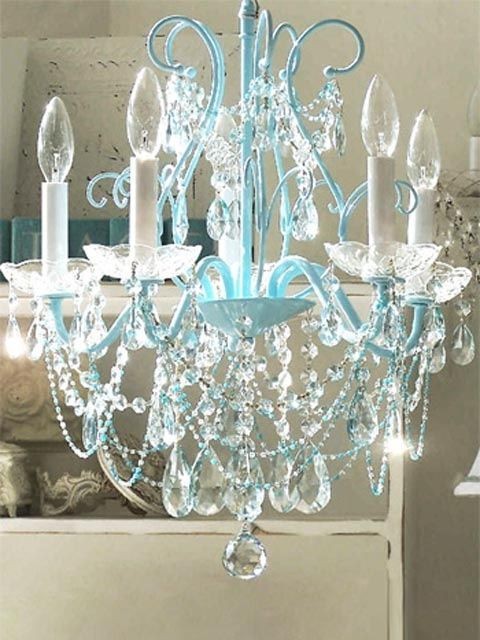 Interior Design Ideas For Girlsu0027 Bedroom   Vintage Shabby Chic Bedroom  Ideas   Love The Blue On This Chandelier.