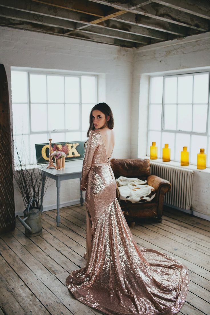 A Pink Sequin Gown for an Earth-friendly and Vegan London Wedding. Photography by Dale Weeks