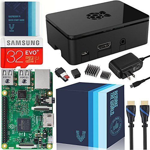 Raspberry Pi 3 Essentials Kit - On-board WiFi and Bluetooth Connectivity – 2.5A Power Supply - 32 GB Samsung Evo+  ✓ Includes Official Raspberry Pi 3 (RPi 3) Model B Quad-Core 1.2 GHz 1 GB RAM--Features On-board WiFi and Bluetooth Connectivity [Latest Broadcom BCM2837 Chip]  ✓ Includes Samsung 32 GB Evo Plus (Class 10) Micro SD Card Preloaded With NOOBS With MicroSD -USB ADAPTER (can be used to Re-Write the SD Card if desired)  ✓ Includes UL Listed 2.5 Amp USB Power Supply with Micro U...