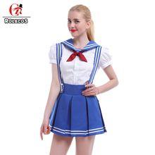 Vestido de marinheiro Meninas Uniforme Da Escola Kawaii Sopro Vestidos de Manga…