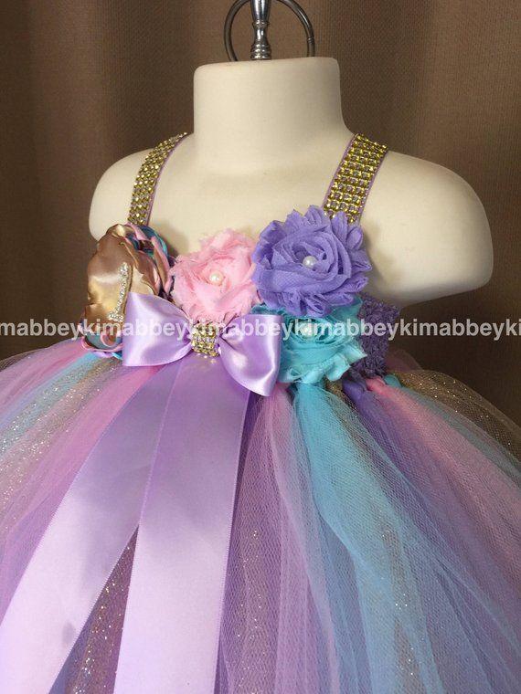 Baby Girl First Birthday Tutu Dress Unicorn Theme In Pink
