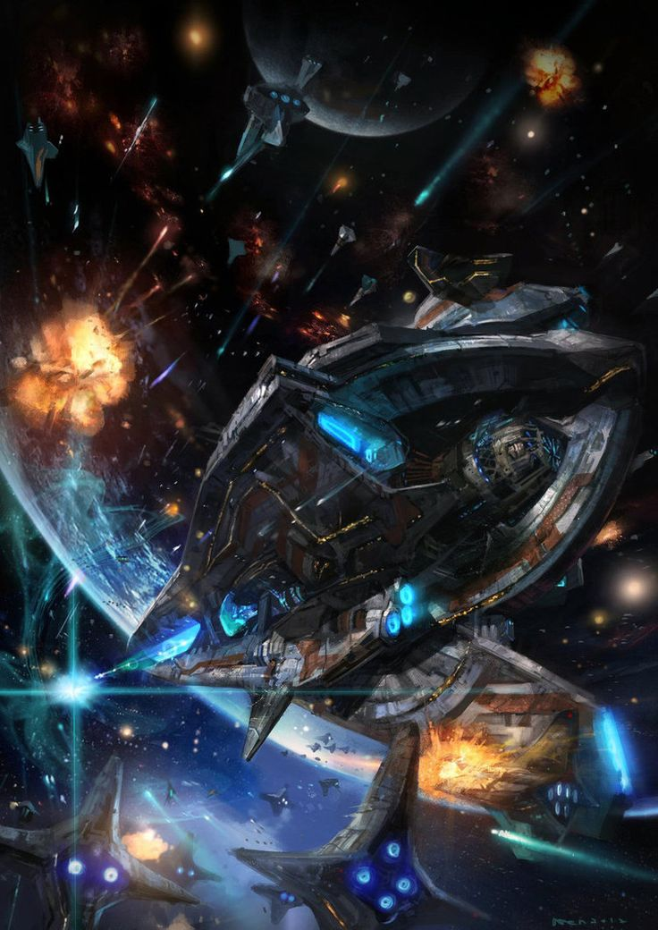 Space battle by http://wen-xaeroaaa.deviantart.com/