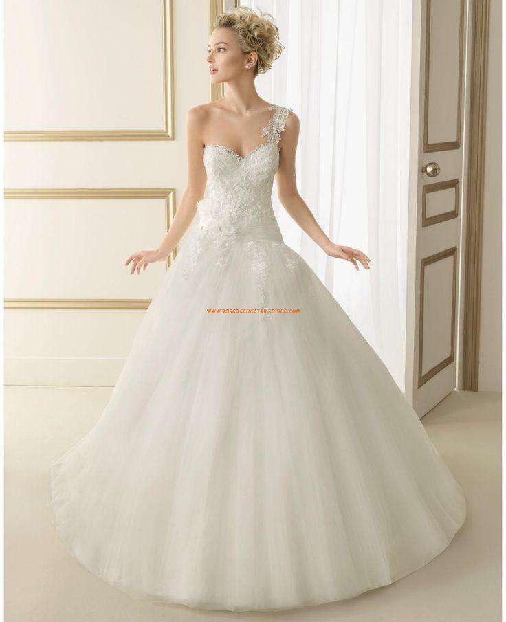 Robe de mariée princesse tulle dentelle fleur bretelle  robe mariage ...