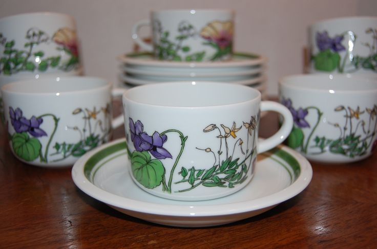 Coffee Cups and Saucers Flower Garden Spal Porcelanas Midsommar 16 Pieces | eBay