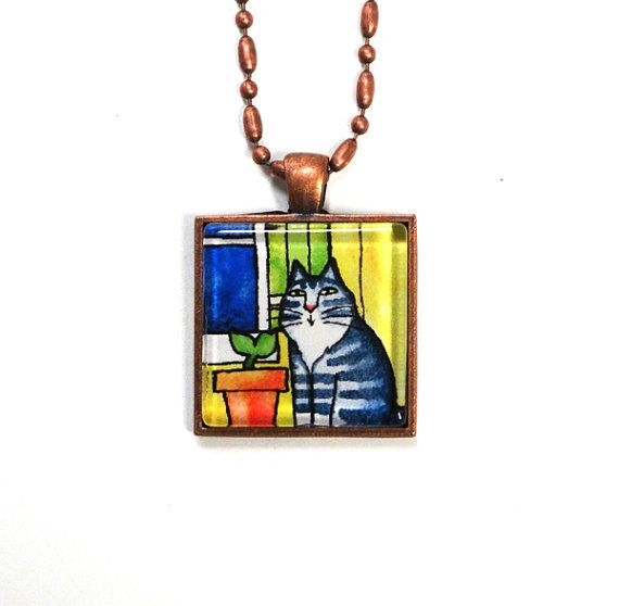 Garden Cat Jewelry/ Maine Coon Tabby Cat Pendant by SusanFayePetProjects, $18.00