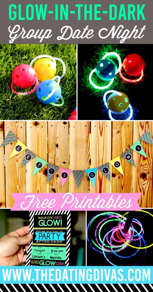 Glow in the Dark Group Date Night idea and printables.