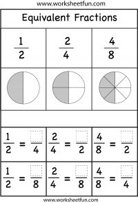 Equivalent Fractions – Two Worksheets