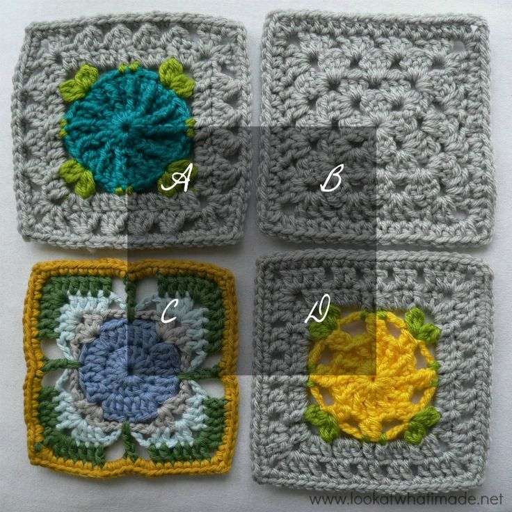 Crochet Stitches Joining : Crochet Squares Part 4: Joining Crochet Squares with Different Stitch ...