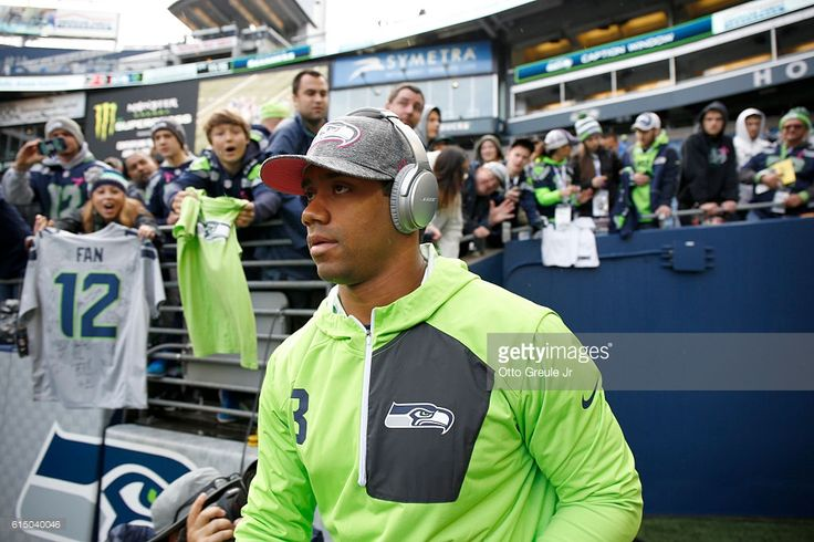Quarterback Russell Wilson #3 of the Seattle Seahawks takes to the field before facing the Atlanta Falcons at CenturyLink Field on October 16, 2016 in Seattle, Washington.
