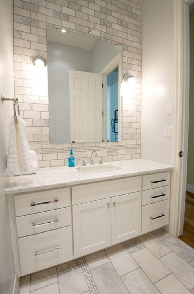 6 Inch White Bathroom Vanity Double Sink Elegant Subway Tile