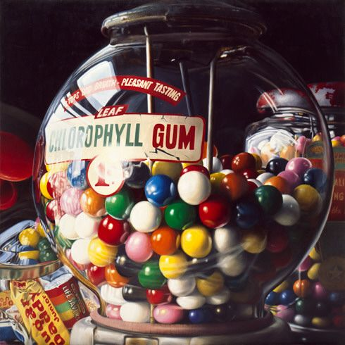 """This is a painting.  Charles Bell / Gum Ball No. 10: """"Sugar Daddy"""" / 1975 / oil on canvas / Guggenheim Museum"""