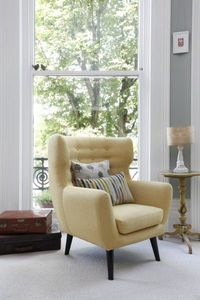 Ruth S Kubrick Wing Back Chair In Ochre Yellow Making A Striking Retro Statement The Light Grey Bay Window Made Com Unboxed Dream House