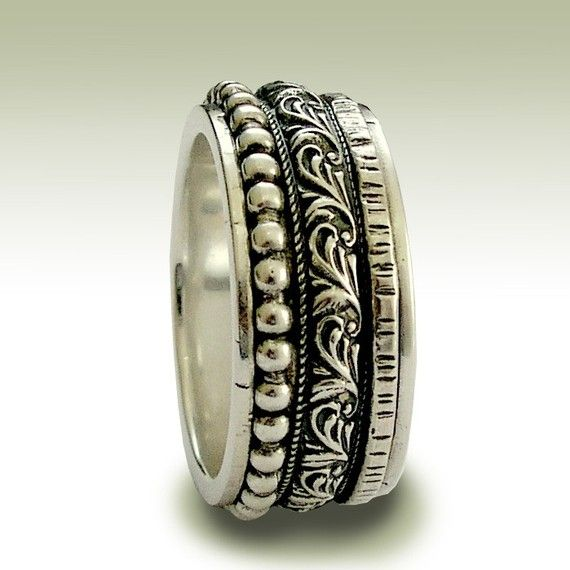 RESERVED to Tamara - FEE - Sterling silver band, meditation ring,  spinner band, filigree - Wait for the sound.
