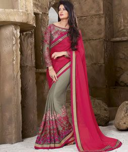 Buy Pink Georgette Half and Half Saree With Blouse 70829 with blouse online at lowest price from vast collection of sarees at Indianclothstore.com.