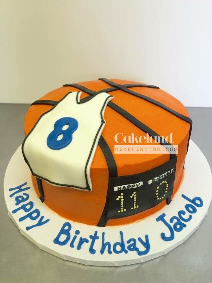 36.Basketball themed cake with scoreboard and jersey