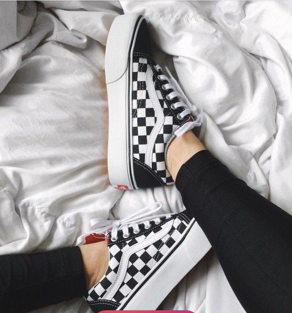 Shoes: vans, platform shoes, sneakers, sneakers white, black, black vans              - Wheretoget