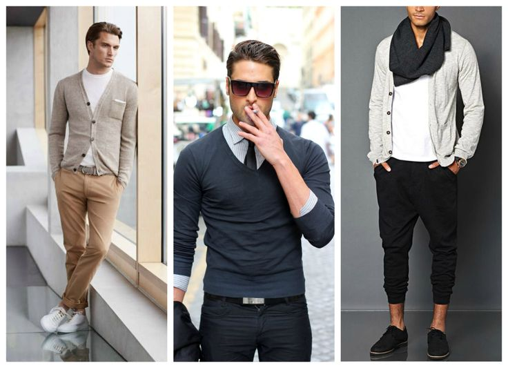 Fall, winter men's outfit - jumper with tie, scarf.