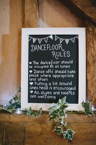 I love this dance floor sign! --- yes to the ties around the head! all weddings should end that way!